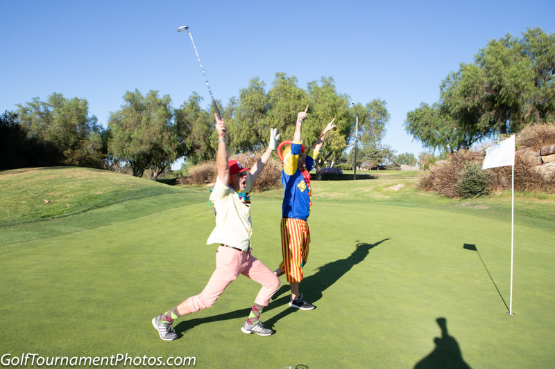 Golfers having fun costumes at the Mutiny Golf Scramble by Donna Coleman Photography in San Diego for Golf Tournament Photos