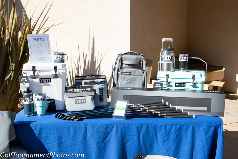 Raffle Prizes for a golf tournament by Donna Coleman and Golf Tournament Photos in San Diego